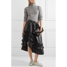 Asymmetric Ruffle-trimmed Real Black Leather Midi Skirt for Women