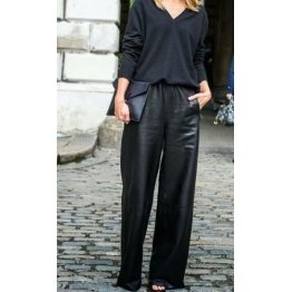 Classic Female Fashion Wide Leg Leather Trousers Pants