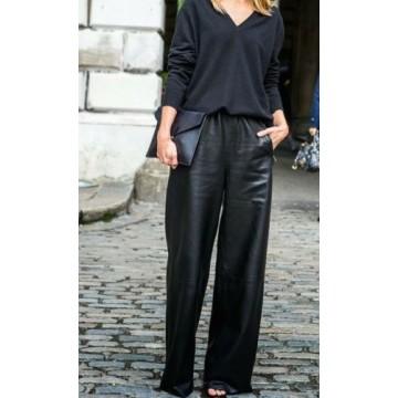 Classic Female Fashion Wide Leg Leather Trousers Pants