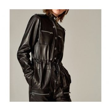 Elegant Womens Black Going Out Leather Jumpsuit