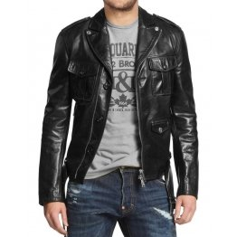 Front Pockets Mens Genuine Black Leather Biker Jacket