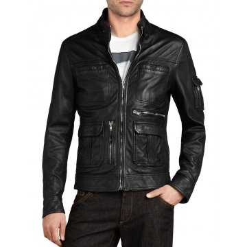 Genuine Design Mens Vented Black Leather Jacket
