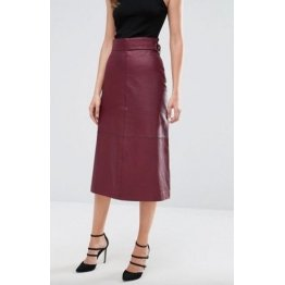 Ladies Burgundy Leather Straight Long Midi Skirt Outfit