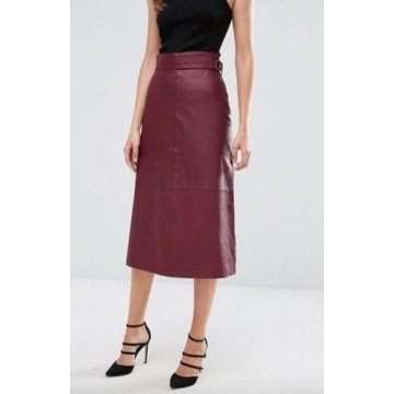 Ladies Cherry Leather Straight Long Midi Skirt Outfit