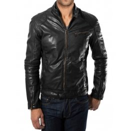 Lightweight Mens Quilted Black Leather Biker Jacket