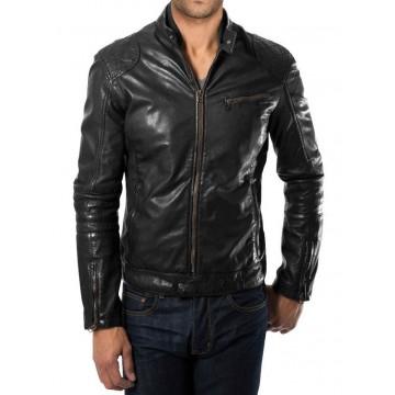 Lightweight Mens Quilted Black Leather Biker Jacket