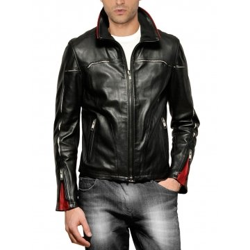 Mens Hooded Style Black and Red Leather Jacket