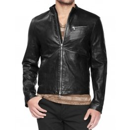 Mens Summer Short Black Leather Jacket