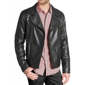 Modern Mens Black Leather Jacket with Notch Collar