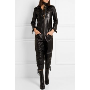 New Trend Ladies Dressy black Lace-up Leather Jumpsuits