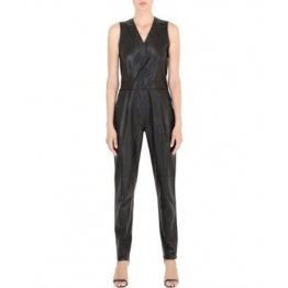 Ready to Wear Simple Fitted Womens Black Leather Jumpsuit