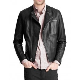Simple Casual Black Leather Jacket for Mens