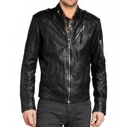 Simple Classic Black Leather Jacket for Mens