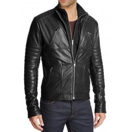 Slim Fit Black Leather Motorcycle Jacket for Men