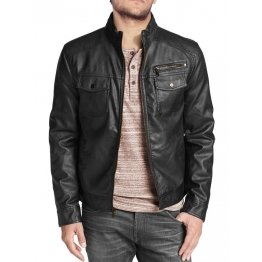 Stylish Mens Black Leather Biker Style Jacket