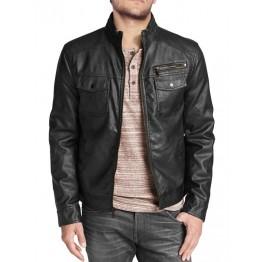 Stylish Mens Black Leather Biker Style Jacket