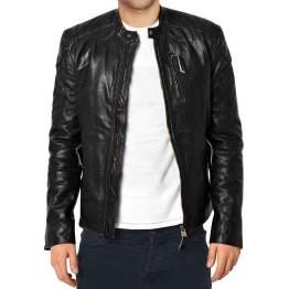 Thin Mens Black Leather Biker Style Jacket