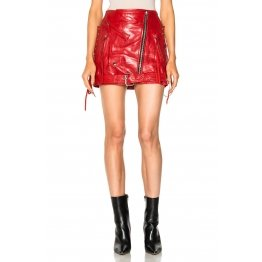 Trendy Women Biker Style Red Genuine Lambskin Leather Mini Skirt