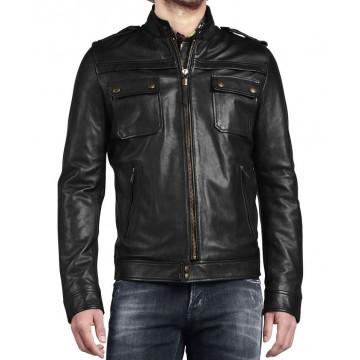Western Mens Genuine Leather Black Jacket