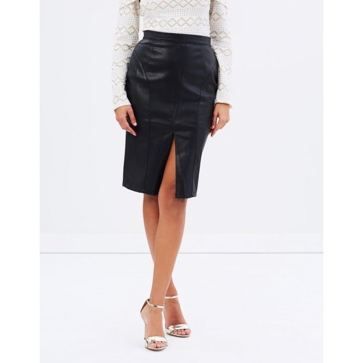 Womens Genuine High Waisted Black Leather Mini Pencil Skirt