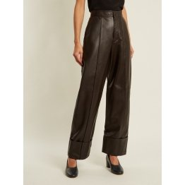 Womens High Rise Dark Brown Leather Trousers Pants