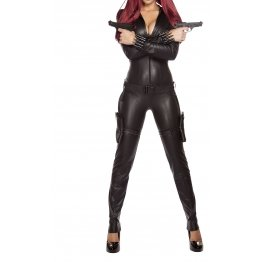 Womens Ninja Hit One Piece Catsuit Black Leather Jumpsuit