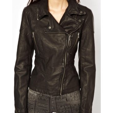 Classic Black Distressed Biker Leather Moto Jacket for Girls