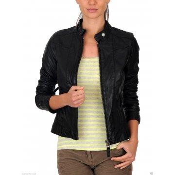 Cool Slim Fit Womens Designer Black Leather Jacket
