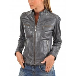 Moto Style Gray Leather Biker Jacket for Womens