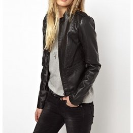 New Genuine Soft Lambskin Short Black Leather Jacket for Women