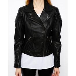 Soft Lambskin Black Leather Biker Jacket for Ladies