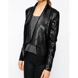 Stylish Pure Genuine Soft Black Leather Jacket for Womens