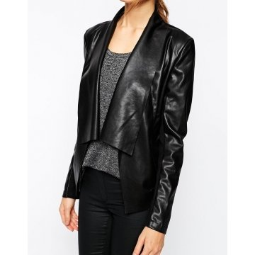 Stylish Pure Genuine Soft Black Leather Jacket for Womens