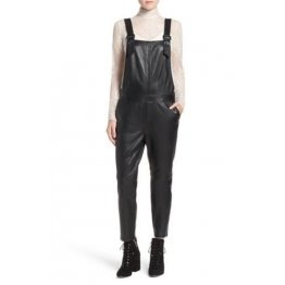 Super Simple Black Leather Overalls Full Body Ladies Romper