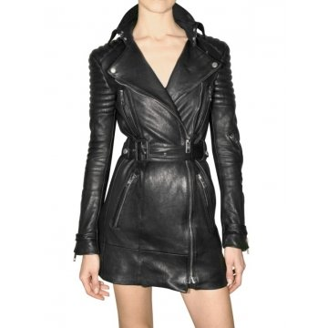 Womens Black Long Biker Quilted Leather Mini Dress with Sleeves