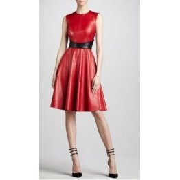 Womens Genuine Red Leather Sleeveless Mini Dress
