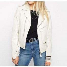 Celebrity Style Slim Fit White Leather Biker Jacket