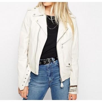 Celebrity Style Slim Fit White Leather Biker Jacket