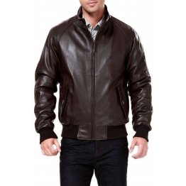 Genuine Brown Real Leather Bomber Jacket for Men