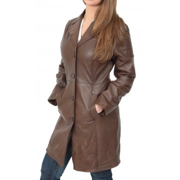 Ladies Fitted Genuine Brown Leather Long Trench Coat