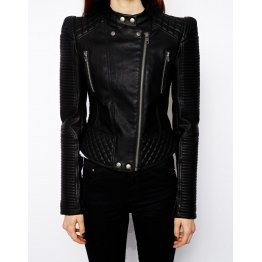 Ladies Vintage Band Collar Black Leather Biker Jacket