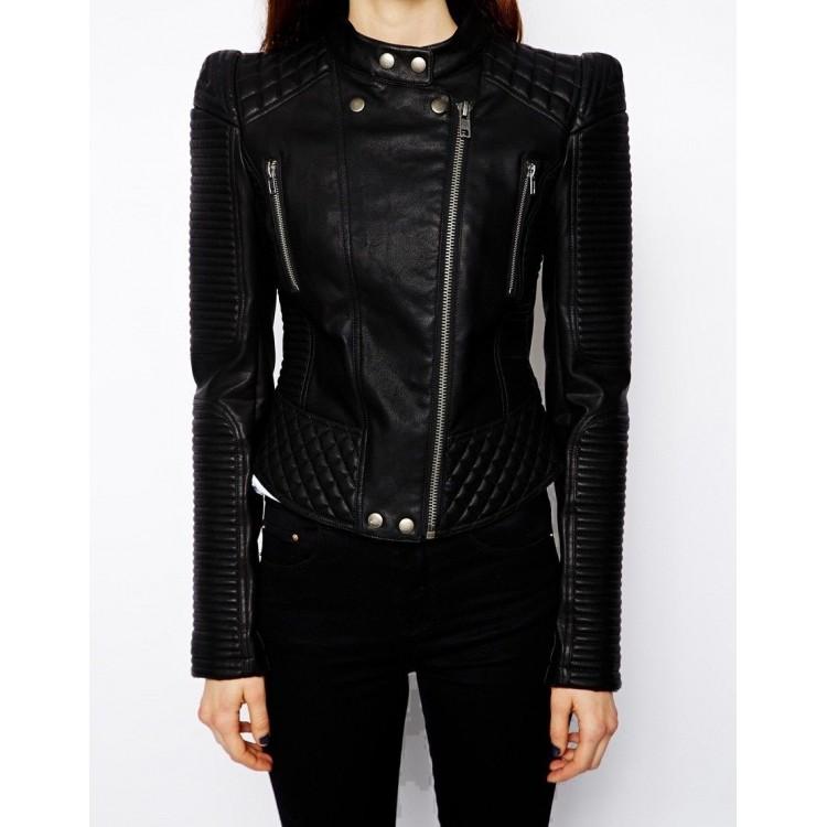 Ladies Vintage Band Collar Black Leather Biker Jacket