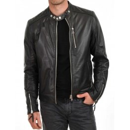 Mens Genuine Soft Lambskin Biker Style Black Leather Jacket