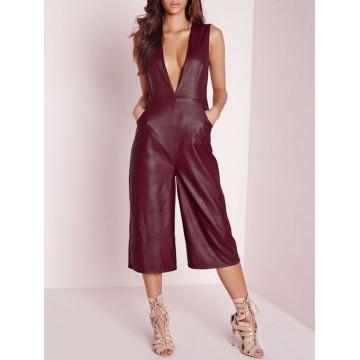 Women Deep V Culotte Burgundy Lambskin Leather Romper Catsuit