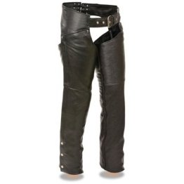 Womens Classic Hip Pockets Black Leather Motorcycle Chaps