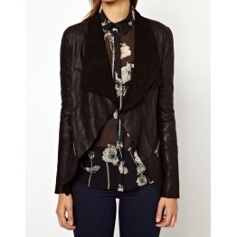 Womens Designer Open front style Black Leather Jacket
