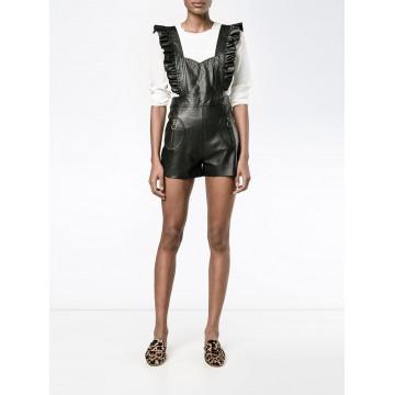 Womens Elegant One Piece Black Leather Romper Shorts