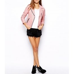 Womens Pink Soft Real Leather Motorcycle Jacket