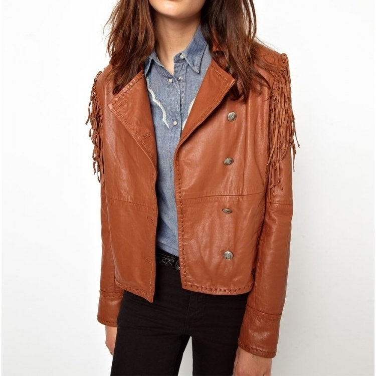 Womens vintage Fringed Genuine Brown Leather Jacket fb721690e0