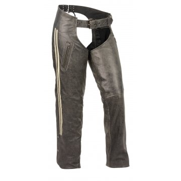 Womens Vintage Slate Grey Racing Stripes Leather Chaps for Motorcycle Riding